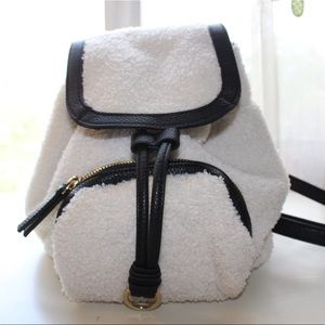 Sherpa Fur lined mini backpack